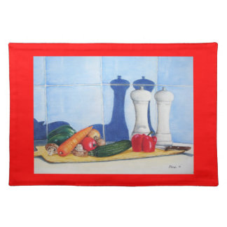 quirky still life art of peppers courgette carrots placemat