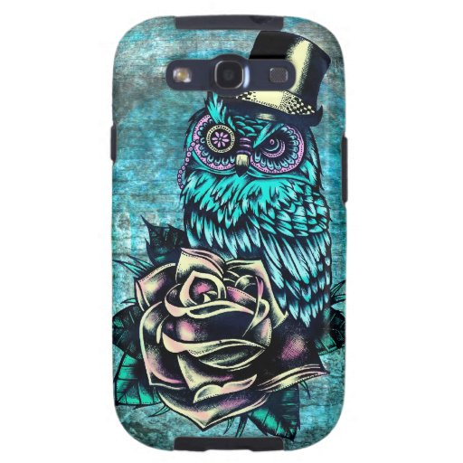 Quirky teal and pink owl with top hat. samsung galaxy s3 cover