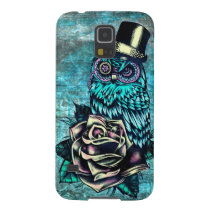 Quirky teal and pink owl with top hat. case for galaxy s5