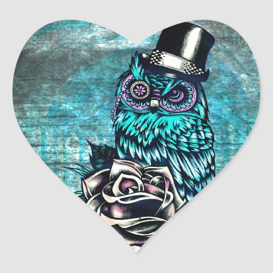 Quirky teal and pink owl with top hat. heart sticker