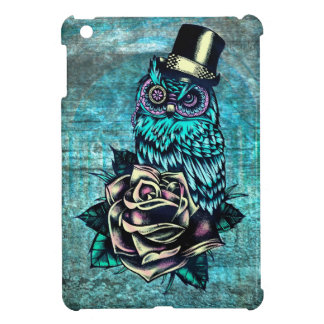 Quirky teal and pink owl with top hat. iPad mini case