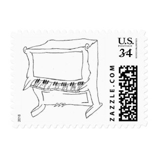 Quirky Upright Piano Stamp