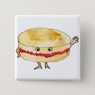 Quirky Victoria Sponge Cake Funny Watercolour Art Pinback Button