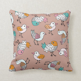 Quirky vintage birds illustration pattern throw pillow