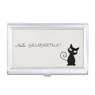 Quirky Whimsical Black Cat Glittery-Hello Gorgeous Business Card Holder