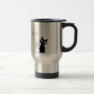 Quirky Whimsical Black Cat Glittery-Hello Gorgeous Travel Mug