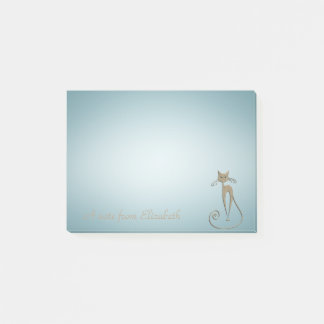 Quirky Whimsical Cat -Personalized Post-it Notes