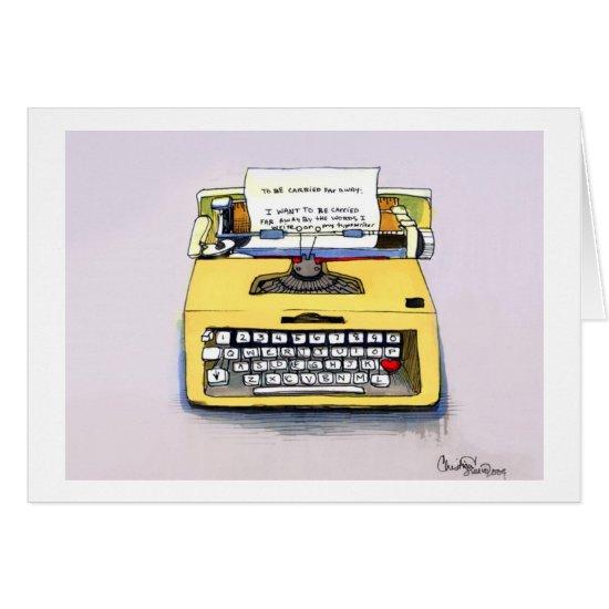 Quirky Yellow Typewriter Card