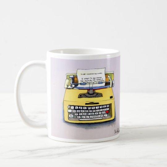 Quirky Yellow Typewriter Coffee Mug