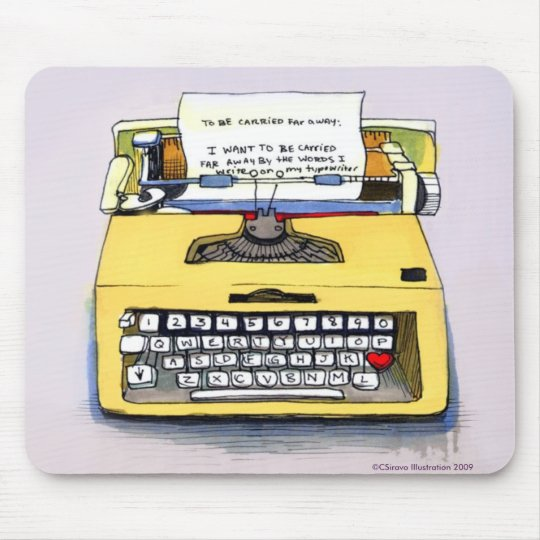 Quirky Yellow Typewriter Mouse Pad