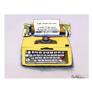 Quirky Yellow Typewriter Postcard