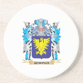 Quiroga Coat of Arms - Family Crest Beverage Coasters