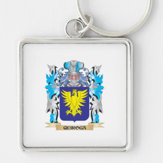 Quiroga Coat of Arms - Family Crest Silver-Colored Square Keychain