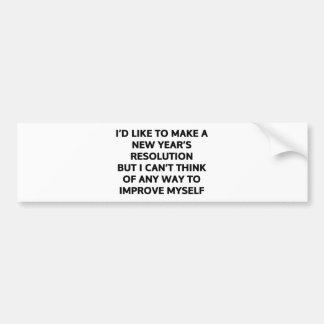Quisiera hacer una resolución del Año Nuevo Pegatina Para Auto