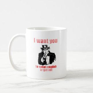 Quisiera que usted hable inglés o que saliera de F Taza De Café
