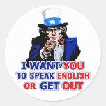 Quisiera que usted hable inglés o que saliera - pegatinas redondas