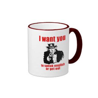 Quisiera que usted hable inglés o que saliera taza de dos colores