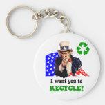¡Quisiera que usted reciclara! Llaveros Personalizados