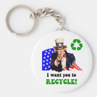 ¡Quisiera que usted reciclara! Llavero Redondo Tipo Pin
