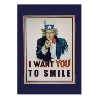 Quisiera que usted sonriera tarjetas de visita grandes
