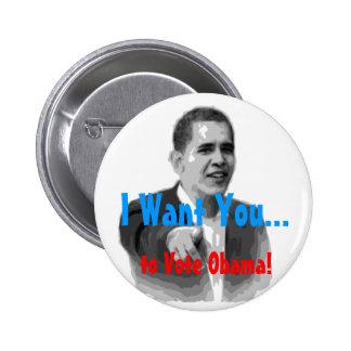 ¡Quisiera que usted votara a Obama! Botón