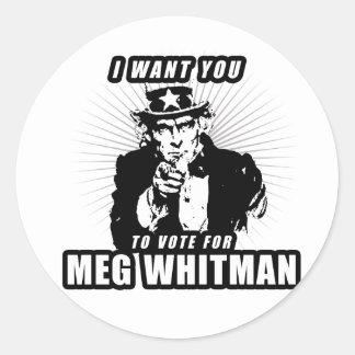Quisiera que usted votara por Meg Whitman Pegatina Redonda