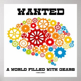 Quiso un mundo llenado del cerebro mecánico de los póster