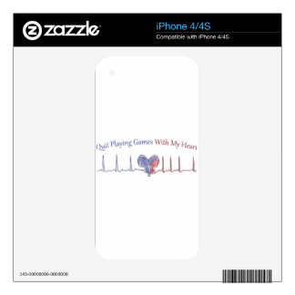Quit Playing Games With My Heart Decal For The iPhone 4S