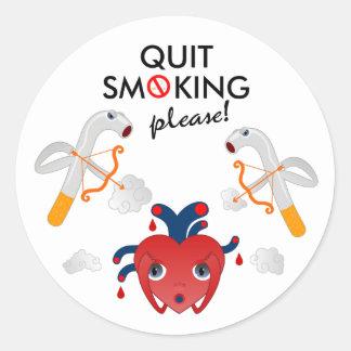 Quit que fuma por favor pegatina redonda