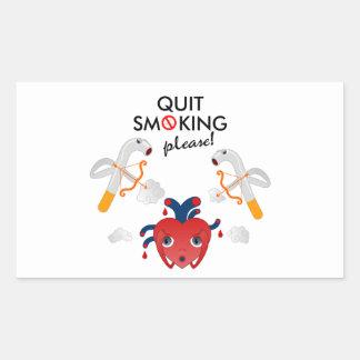 Quit que fuma por favor rectangular pegatina