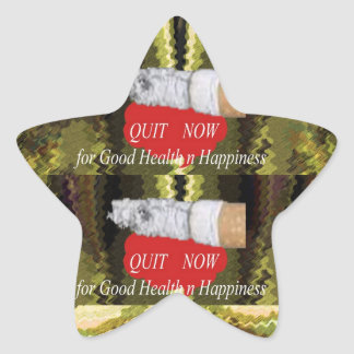 QUIT Smoking - For Good Health n Happiness Star Sticker