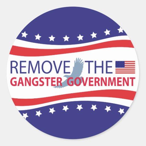 Quite al gobierno del gángster pegatina redonda