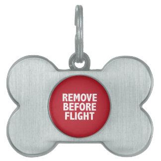 Quite antes de vuelo placa mascota