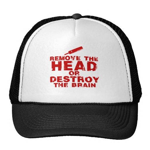Quite la cabeza o destruya al zombi del cerebro gorras