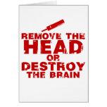 Quite la cabeza o destruya al zombi del cerebro felicitaciones