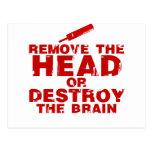 Quite la cabeza o destruya al zombi del cerebro tarjetas postales