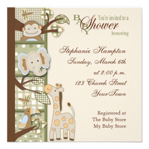 quited monkey baby shower invitation square invitation card