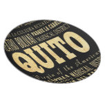 Quito City of Ecuador Typography Art Party Plate