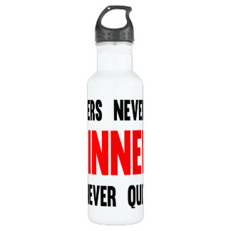 Quitters never win winners never quit water bottle