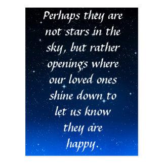 Quizás no son estrellas en el cielo sino aberturas tarjetas postales