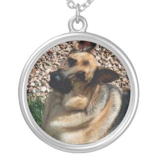 Quizzical German Shepherd Round Pendant Necklace