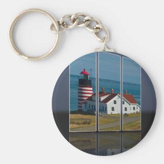 Quoddy Head Lighthouse Cutout Basic Round Button Keychain