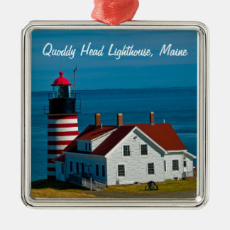 Quoddy Head Lighthouse, Maine Square Metal Christmas Ornament