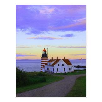 Quoddy Head Lighthouse Twilight Postcard