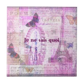 Quoi de los sais del ne de Je - frase francesa - a Azulejo Cuadrado Pequeño