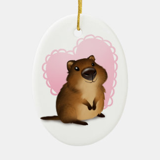 Quokka Double-Sided Oval Ceramic Christmas Ornament