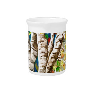 """""""Autumn Birches"""". Acrylics and craft pai Beverage Pitcher"""
