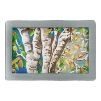 """Autumn Birches"". Acrylics and craft pai Rectangular Belt Buckle"