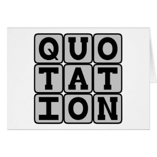 Quotation, Famous Words Card
