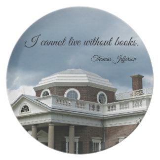 Quote about Books by Thomas Jefferson Dinner Plates